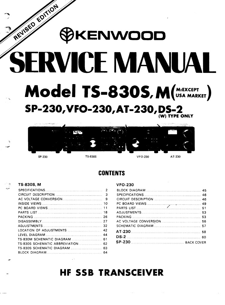 KENWOOD TS 830 Service Manual