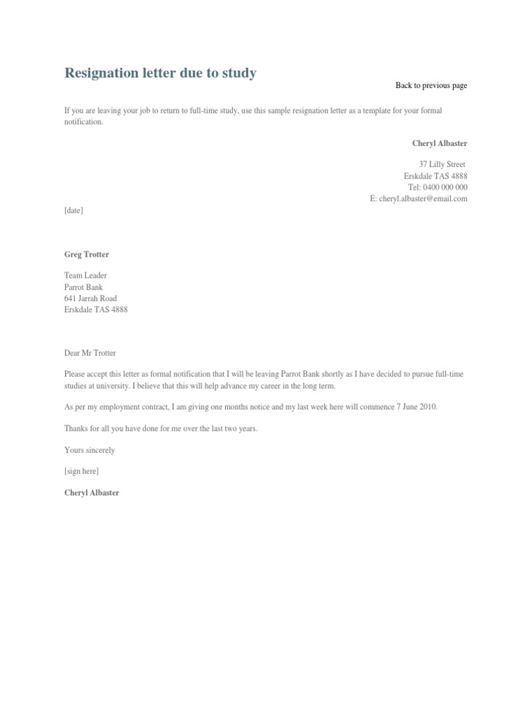 Resignation letter due to study expocarfo Images