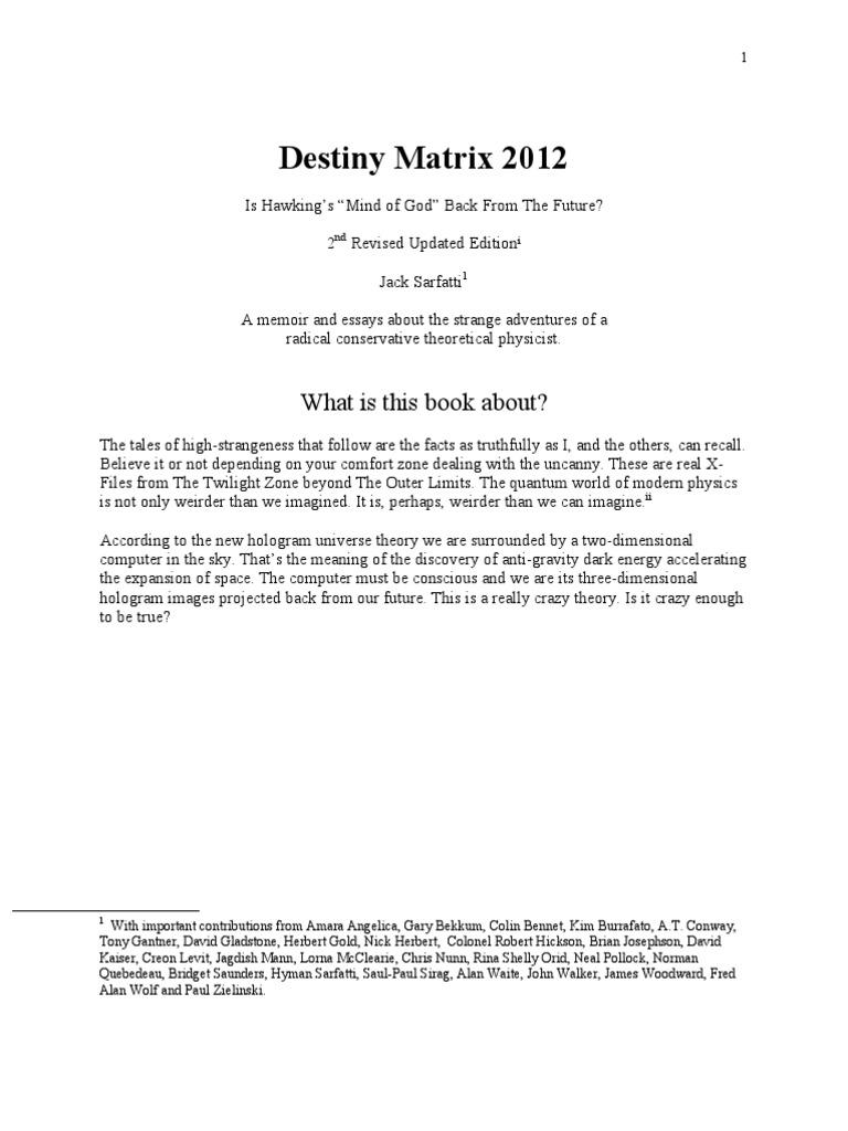Destiny Matrix 2012 Jack Sarfatti
