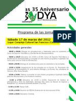 Programa Jornadas 35 Aniversario DYA