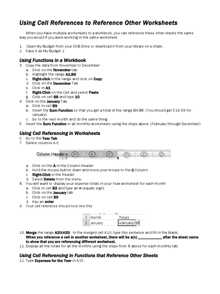 Referencing Cell in Another Worksheet | Worksheet | Computing
