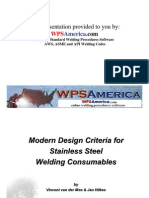 Design Criteria for Stainless Steel Welding Consumables