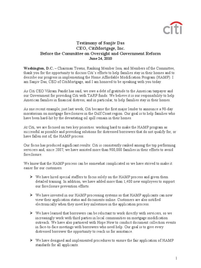 Testimony Ceo Citimortgage 6 24 10 Short Sale Real Estate