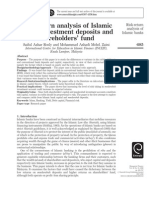 Risk Returns Analysis of Islamic Deposits and Shareholder Fund