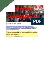 Noticias Uruguayas Jueves 26 de Abril de 2012
