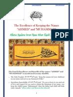 The Excellence of Keeping the Names Ahmed and Muhammad by Hazrat Allama Maulana Imran Raza Khan Qadiri Samnani Mian(Maddazillahul Aali)