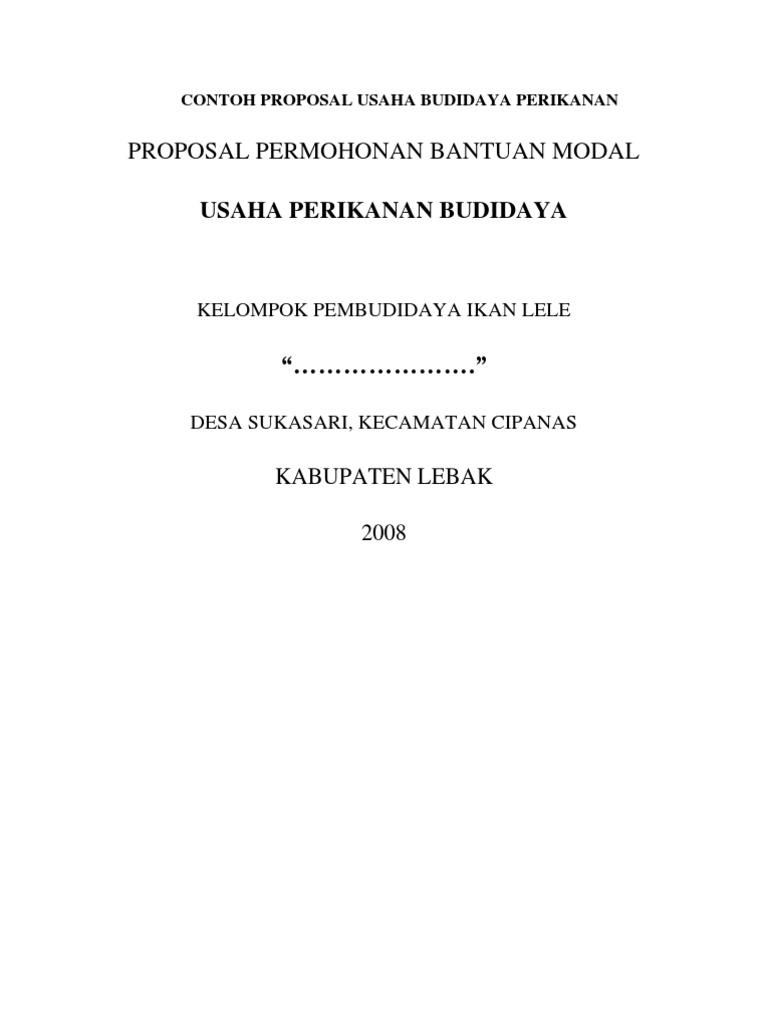Contoh Proposal Usaha Budidaya Perikanan