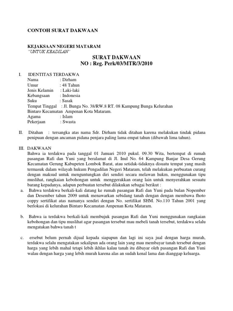 34++ Contoh eksepsi surat dakwaan terbaru yang baik