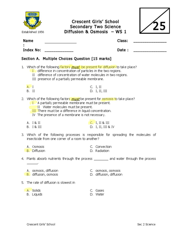 Diffusion and Osmosis Worksheet  Osmosis