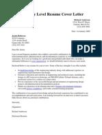 Sample Entry Level Resume Cover Letter