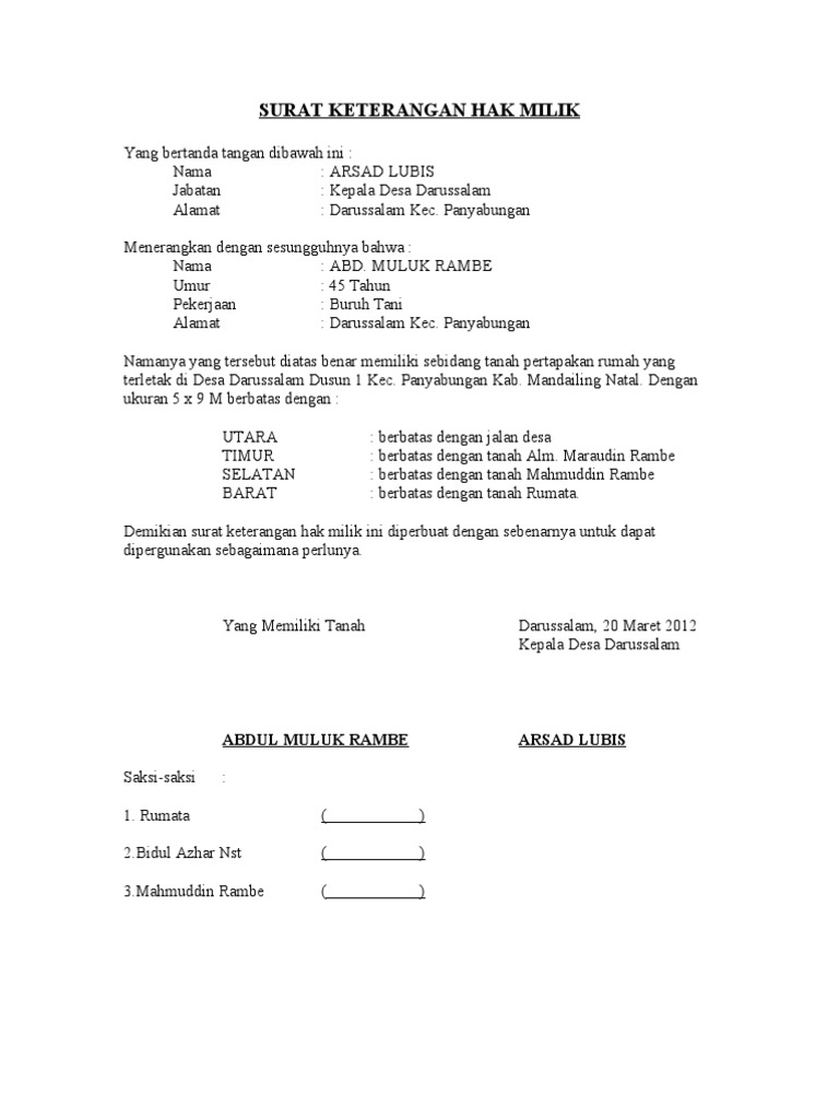 Contoh Surat Hibah Rumah Suratmenyuratnet