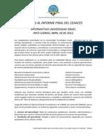 Informe Redactado Por Las des Del CEAACES