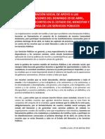 120426 Declaracion Social Apoyo Manifestacion 29-04-12