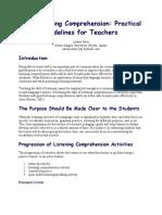 ESL Listening Comprehension- Practical Guidelines for Teachers