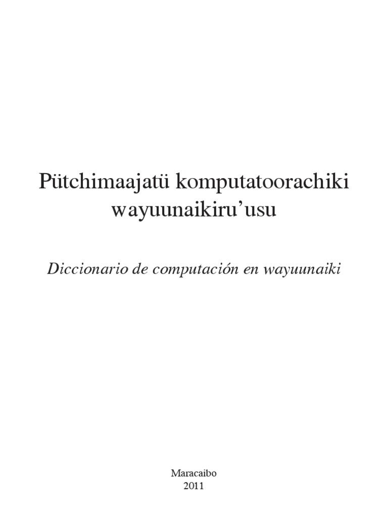 Diccionario de computación en wayuunaiki