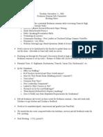 Freshman Seminar Meeting Minutes, November 11, 2008