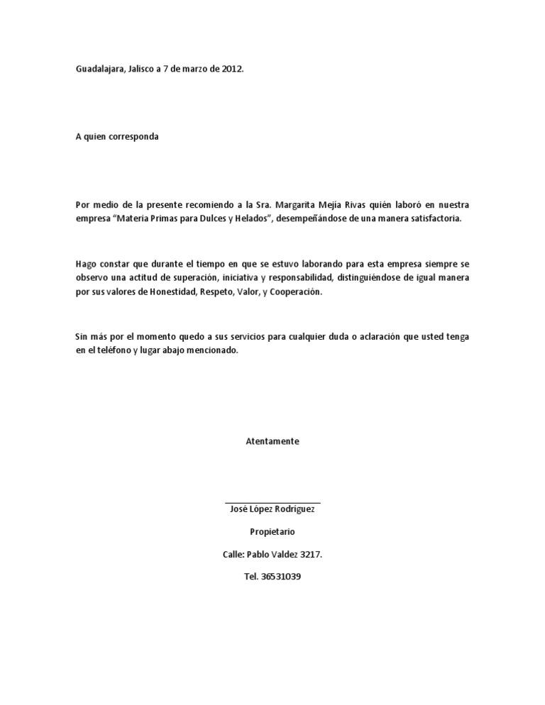 ejemplos de cartas de recomendacion laborales
