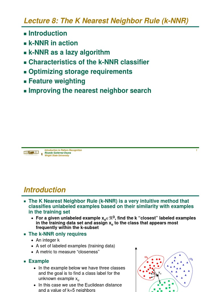 The K Nearest Neighbor Rule | Reconhecimento de Padrões