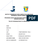 Front Cover of Assignment 2012