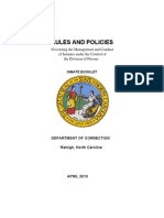 Raleigh, North Carolina-Inmate Rule Booklet