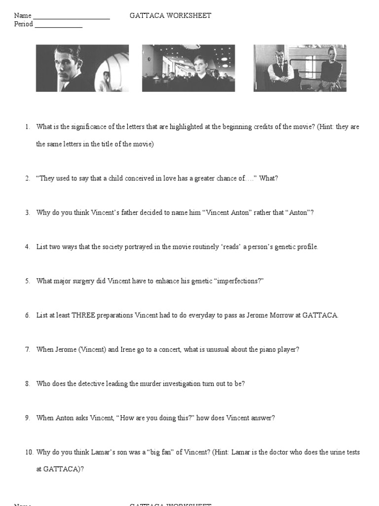 GATTACA Worksheet 1 | Cloning | Genetics