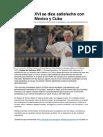 Benedicto XVI se dice satisfecho con su visita a México y Cuba
