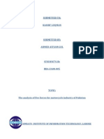 The Analysis of Five Forces for Motorcycle Industry of Pakistan