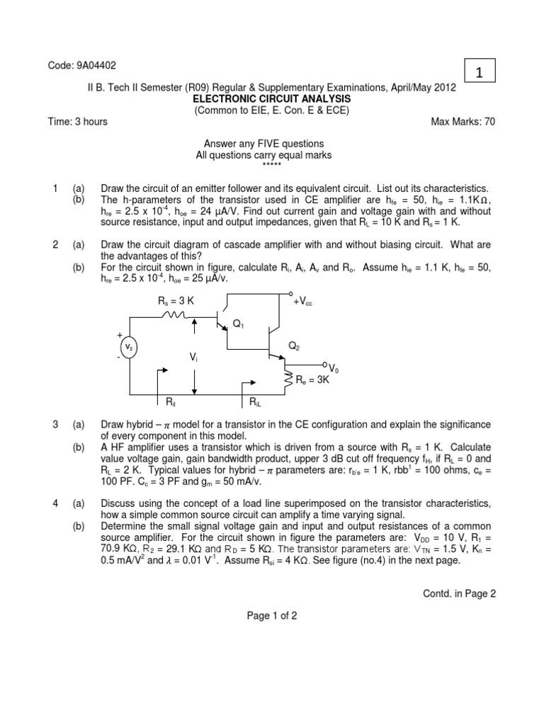 9a04402 Electronic Circuit Analysis Amplifier Oscillator Emitter Follower