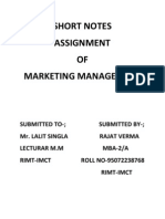 Marketing Assignment on Short Notes.mba