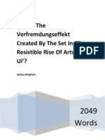 How Is The Verfremdungseffekt Created By The Set In 'The Resistible Rise Of Arturo Ui'?