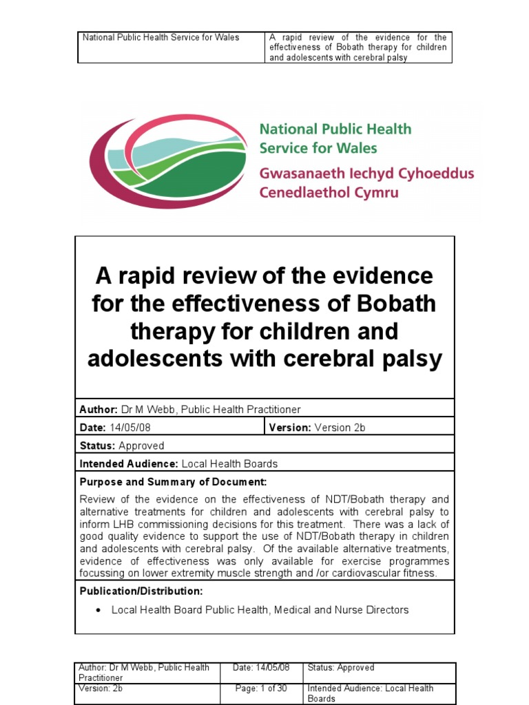 Bobath Therapy For Children With Cerebral Palsyv2b Cerebral Palsy