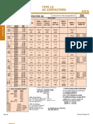 AEG Contactors | Alternating Current | Electric Power | Aeg Ls07 Contactor Wiring Diagram |  | Scribd