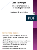 Professor Sir Andy Haines, London School of Hygiene and Tropical Medicine on Health Care in Danger