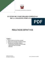 II Censo de CC Indigenas de La Amazonia Peruana 2007 Tomo 1