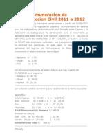 Nueva Remuneracion de Construccion Civil 2011 a 2012