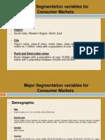 Major Segmentation Variables for Consumer Markets