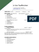 Devin Von Tauffkirchen's Resume
