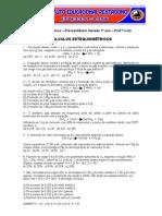 Lista de exercícios de cálculos estequiometricos 1º ano PVS