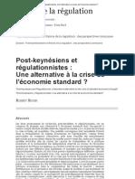 Post-keynésiens et régulationnistes_Une alternative à la crise de l'économie standard_