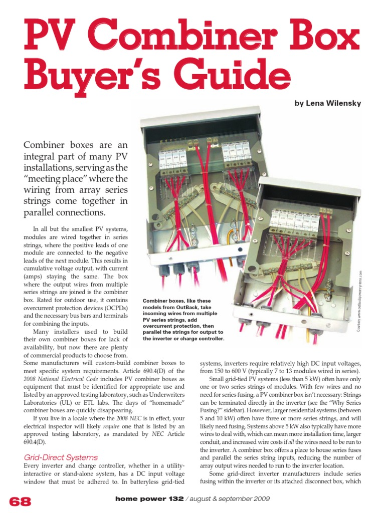 Combiner Box Buyers Guide 2009 Photovoltaic System Power Inverter Wiring Pv
