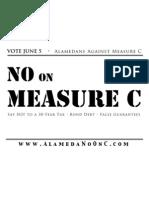 VOTE JUNE 5 • Alamedans Against Measure C -  Window Sign