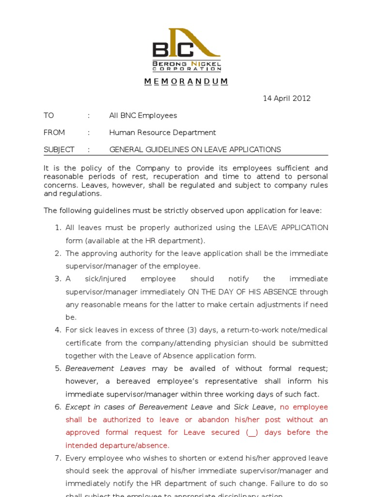 Memo on Leave Employment – Employee Leave Application Form
