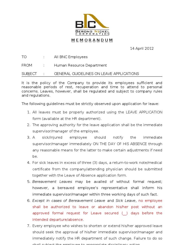Memo on Leave Employment – Medical Leave Form
