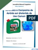 Amoníaco e Compostos de Amónio em Materiais de Uso Comum