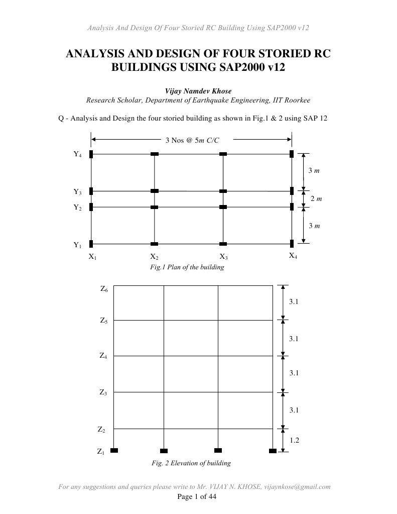 SAP 12 Tutorial - RC Bldg | Function (Mathematics) | Beam (Structure)