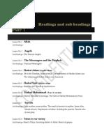 Headings & Sub Headings ILal Islam English Part-1 & 2