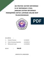 PENGELOLAAN PROYEK SISTEM INFORMASI TERM OF REFERENCE (TOR)