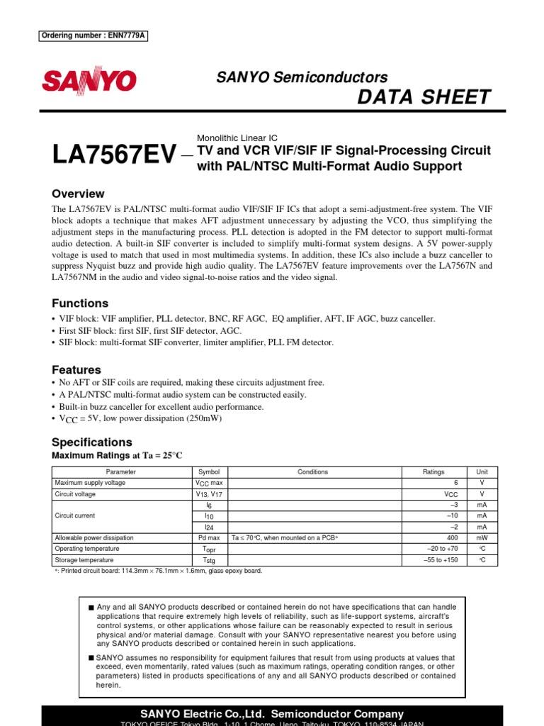 LA7567EV - TV and VCR VIF-SIF if Signal-Processing Circuit With PAL