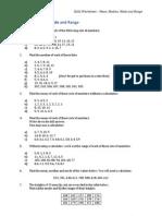 Mean, Median, Mode and Range Worksheet