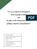 Managementul Impresiei in Cadrul Grupurilor